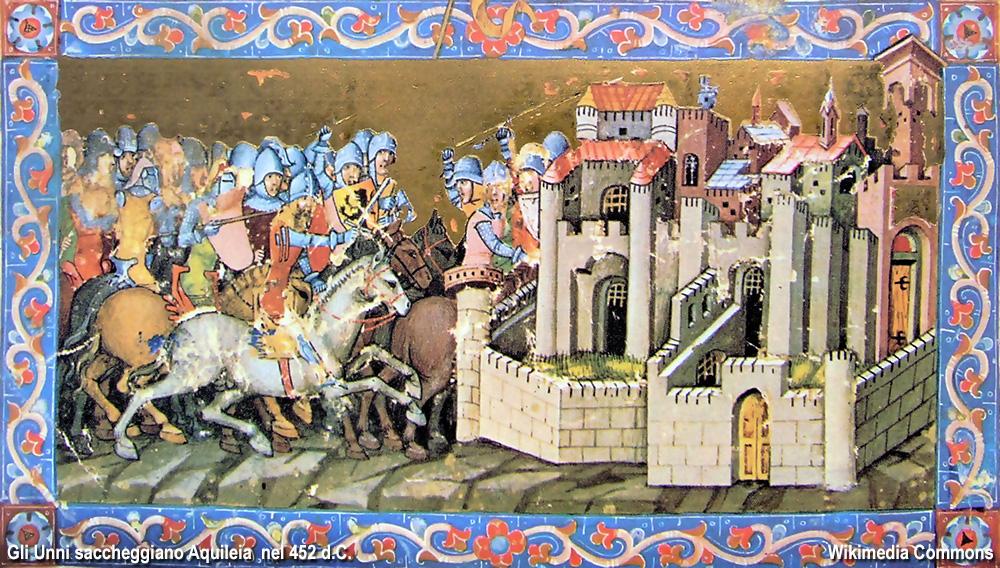 Gli Unni saccheggiano Aquileia, dal Chronicum Pictum