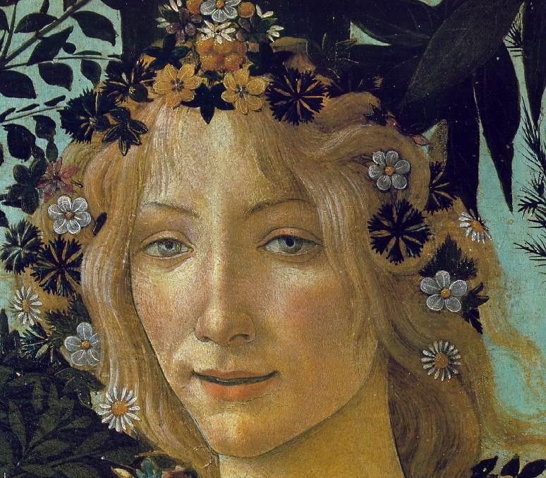 fragola e anemone nella Primavera di Botticelli