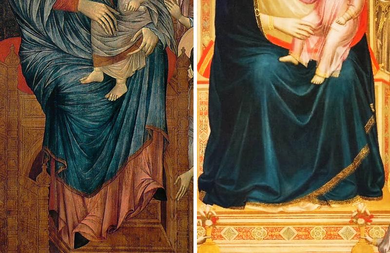confronto tra vesti di Cimabue e di Giotto