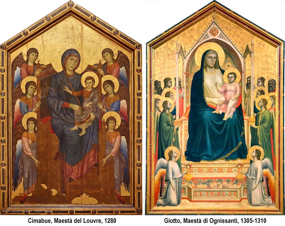 confronto tra Maestà di Cimabue e Giotto