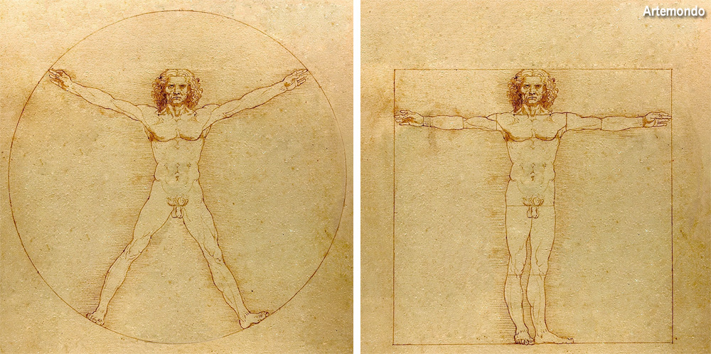 uomo nel cerchio e nel quadrato