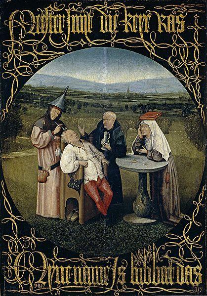 Hyeronimus Bosch, L'estrazione della pietra della follia, circa 1480