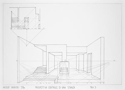Prospettiva centrale fava geometria e disegno for Disegnare una stanza in 3d