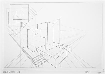 Prospettiva accidentale fava geometria e disegno for Disegni di case in prospettiva